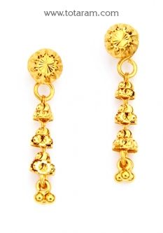 Buy 22K Gold Drop Earrings - GER6788 with a list price of $192.99 - 22K Indian Gold Jewelry from Totaram Jewelers