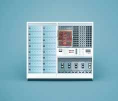 A photograph of rhe ENDIM 2000 analog computer, shot by photographer Docubyte at the National Museum of Computing. Images were then retouched by production studio Ink and placed on coloured backgrounds