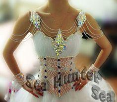Ballroom Smooth Standard Waltz Quickstep US6 Dance Dress#B3349 White Competition
