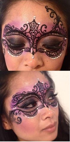 Masquerade mask face paint (my mask . Masquerade Mask Makeup, Masquerade Ball, Venetian Masquerade, Mask Face Paint, Adult Face Painting, Exotic Makeup, Make Up Gesicht, Fantasy Make Up, Face Painting Designs