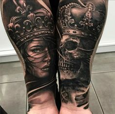 Cool King and Queen Half Sleeve Tattoos on Forearm - Les meilleurs tatouages roi et reine . - Cool King and Queen Half Sleeve Tattoos on Forearm – Best King and Queen Tattoos: Cool King and Qu - Skull Couple Tattoo, Skull Tattoos, Leg Tattoos, King Y Queen, King Queen Tattoo, Trendy Tattoos, Popular Tattoos, Half Sleeve Tattoos Forearm, Bauch Tattoos