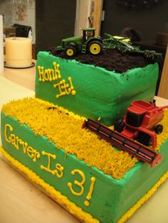 John Deere - White cake, rasp filling and BC with oreos for the dirt Tractor and combine are toys!  My son Loved it!