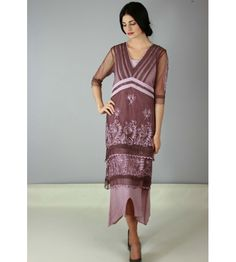 Layered lace gown with chain stitch embroidery in Mauve by Designer Nataya.