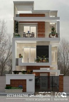 12 Unique Modern House Architecture Style - We seek happiness 3 Storey House Design, Duplex House Design, Townhouse Designs, House Front Design, Narrow House Designs, Modern Small House Design, Modern Minimalist House, Modern House Plans, Style At Home
