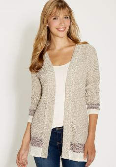 open stitch cardigan with striped bottom hems - #maurices