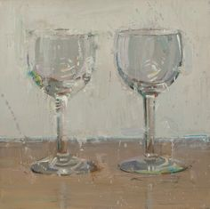 """""""Waiting for Wine"""" - 8"""" x 8""""  Original Oil Painting by Dianne Massey Dunbar.  Available at RS Hanna Gallery, Fredericksburg, TX.   Dianne Massey Dunbar says, """"I love to paint!  Every painting is an adventure, with opportunities and challenges.  A few works paint themselves, seemingly effortlessly.  Other paintings yield an almost life and death struggle.  Whatever the outcome, I always learn something.  It is intoxicating.  It is unpredictable.  Painting for me is an ongoing process of…"""