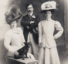 Portrait of an Edwardian Family with French Bulldog old 1908s Real Photo pc