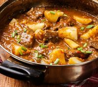 Slow Cooker Chunky Beef & Potato Stew Recipe: Ingredients 2 pounds lean chuck or other beef stew meat, cut into large bite-sized pieces cup white whole wheat flour or all-purpose flour 2 tablespoons extra-virgin olive oil, divided 3 large Potato Stew Recipe, Beef And Potato Stew, Beef And Potatoes, Stewed Potatoes, Beef Stew Meat, Beef Broth, Hamburger Stew, Potato Recipes, Crock Pot Slow Cooker