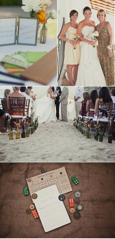 sweet beach wedding ideas Like the bottles lining the aisle And the flip flops on the invitation