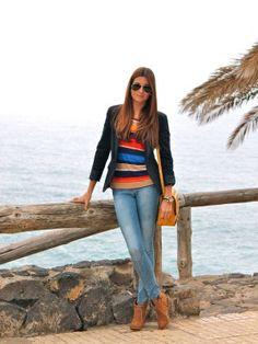 marianela406862 Outfit   Primavera 2012. Combinar Camisa-Blusa Naranja Butano pimkie, Blazer Azul oscuro/Noche Zara, Cómo vestirse y combinar según marianela406862 el 19-5-2012