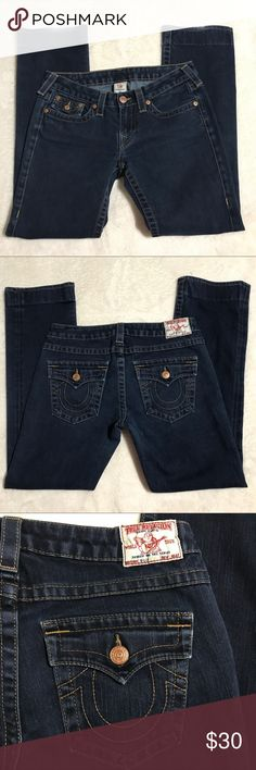 """True religion billy Straight Leg jeans sz 29 Great used condition true religion billy Straight Leg jeans sz 29. Jeans have been hemmed and have some minor wear on the back of the legs as shown. Flat measurements: waist- 14.5"""", inseam- 29.5"""", rise- 7.5"""", leg opening- 7.5"""" NOTE-- stock photo coloring may not be exact match to actual jeans. Stock photo used to show fit only. True Religion Jeans Straight Leg"""