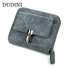DUDINI New Korean Style Women's Wallet Retro Scrub PU Leather Card Holder Buckle Side Zipper Short Paragraph Womens Wallets #Affiliate