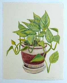 Potted Plant Painting  Philodendron  Original by FrancesMarin, $35.00