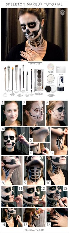You Can Do This Halloween Skeleton Makeup Tutorial With Makeup You Already Own Loading. You Can Do This Halloween Skeleton Makeup Tutorial With Makeup You Already Own Halloween Zombie Makeup Tutorial, Skeleton Makeup Tutorial, Halloween Skeleton Makeup, Maquillaje Halloween Tutorial, Soirée Halloween, Halloween Cosplay, Skeleton Face Paint, Halloween Costumes, Halloween Gesicht