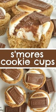 S'mores cookie cups are baked in a mini muffin pan. Graham cracker cookie base, with a toasted marshmallow, and a piece of gooey chocolate on top! Now you can enjoy campfire toasty s'more all year round for dessert. desserts S'mores Cookie Cups Chocolate Cookie Recipes, Easy Cookie Recipes, Sweet Recipes, Chocolate Chips, Muffin Recipes, Chocolate Eclairs, Chocolate Desserts, Chocolate Candies, Chocolate Ganache