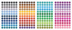 Free Tone-on-Tone Scalloped Circle Social Media Icons in 48 Different Colors