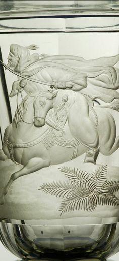 Detail - Biedermeier Pokal mit Pferd und Osmane, wohl August Böhm um 1840