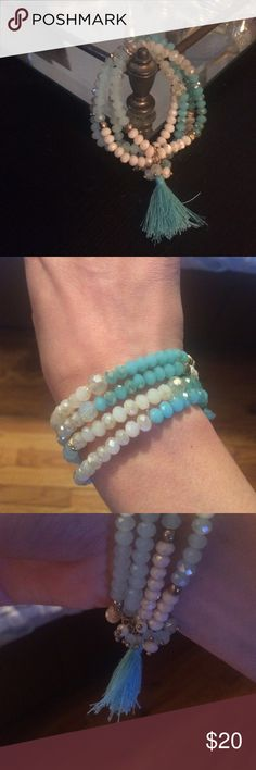 Sale 💕Anthro beaded tassel bracelet blue white Multi strand beaded tassel bracelet! So cute! New without tags. No trades! Stretchy style pull on! Anthropologie Jewelry Bracelets