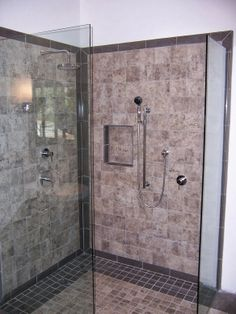 #Gray #grey #brown #beige #ceramic #tile #shower #walkin #trim #niche