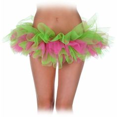 Green And Pink Tutu Adult (£10) ❤ liked on Polyvore featuring costumes, halloween costumes, multicolor, colorful costumes, pink costume, green pixie costume, colorful halloween costumes and green costumes