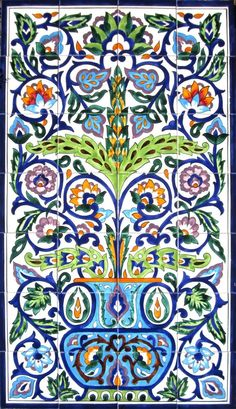 MOROCCAN CERAMIC TILES:MOSAIC PANEL HAND PAINTED HOME WALL MURAL ART 42in X  24in