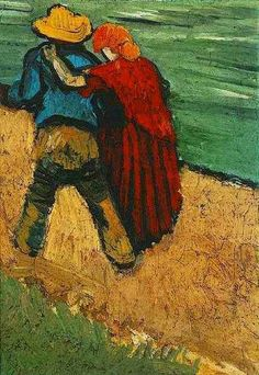 """Two Lovers  (aka, Walking Couple), March 1888. Created in Arles """"At the top of this letter I'm sending you a little croquis of a study of sailors coming back with their sweethearts towards the town, ..."""" (van Gogh letterEmile Bernard)  """"The fragment Walking couple (F 544 / JH 1369 ) is all that has survived of this study, which is reproduced in its entirety in the letter sketch The Langlois bridge with walking couple (F - / JH 1370)."""" (research notes regarding this letter)"""