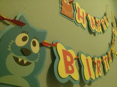 Yo Gabba Gabba Birthday Banner Birthday Door, Birthday Ideas, Yo Gabba Gabba, Banner Ideas, Favor Tags, Cupcake Toppers, No Time For Me, Card Stock, My Etsy Shop
