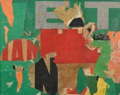Pierre RIVIERE (XXè) SANS TITRE, 1967 Affiches lacérées marouflées sur panneau signé et daté en bas à droite 38 x 46 cm