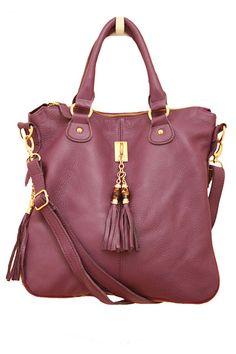 LUCE & ALATI — Purple Leather Tassel Satchel
