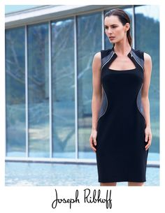 Joseph Ribkoff leather trim dress. 2015 Collection at Aspirations. Tel orders welcome 03 95932007.