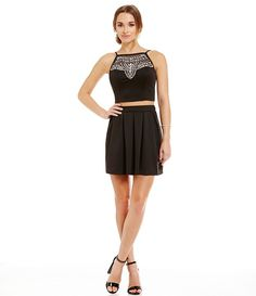 B. Darlin Jeweled Illusion Yoke Two-Piece Dress