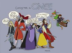 Once upon a time. Neverland. Emma Captain Hook The Evil Queen Snow White Prince Charming Peter Pan and Henry.