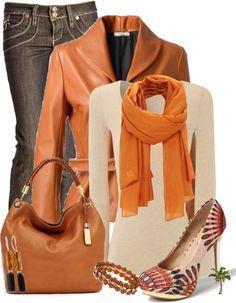 """""""Style the shoe"""" by cindycook10 ❤ liked on Polyvore.....cream top with orange scarf, gray pants, brown leather"""