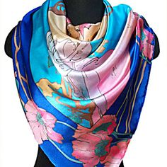 Summer by A. Mucha Silk Batik Shawl - . Batik designs mostly consist of beautiful floral patterns. They are made with the help of a specialized process, called wax-resist dyeing.