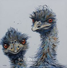 Acrylic on canvas    101x101cm    ready to hang no framing required    These cheeky two Emus look like they could get into all sorts of trouble   www.suedyde.com.au