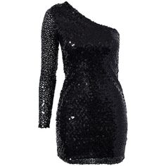 Oneness One Sleeve Sequin Dress ($53) ❤ liked on Polyvore featuring dresses, vestidos, short dresses, robe, black, party dresses, womens-fashion, one sleeve dress, short sequin cocktail dresses and sequin dresses