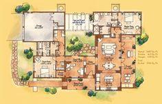 Pueblo+Style+Floor+Plans+2+master+suite+one+great+room | Jicarita ~ 2,487 sq. ft ~ 2 Master Suites ~ 2-1/2 Bathrooms