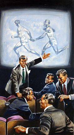 "The Magic of the Olympics: The Relay art by The Olympics. Artist: Ron Embleton (biography) Medium: Gouache on Board Size: 11"" x 20"" (270mm x 500mm) Date: 1972  Slow motion replay in 1948 showed that a baton exchange had been legal meaning the USA did after all win the Gold Medal with the British team having to hand over Gold medals and take the Silver medals from Italy who took the Bronze from Hungary who ended up with nothing.   Illustration for Look & Learn # 549 22 July 1972."