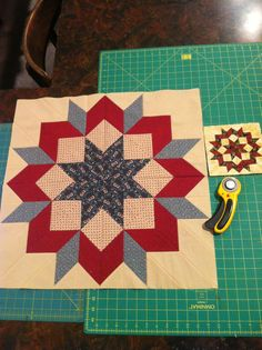 Make Pam Goggans' beautiful version of a Carpenter's Wheel in 10 sizes with Deb's Rapid Fire Lemoyne Star tool. The picture shows the smallest and largest possible. You can pick up the pattern at www.SagerCreekQuilts.com.
