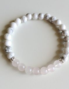 Genuine Rose Quartz & White Howlite Bracelet w/ Swarovski Crystal Spacers ~ 6mm Beads ~ Calm
