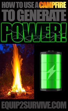 Solar power - How to make electricity with your campfire! This is HUGE! This means that you can generate electricity after dark or in a low light situation with the light from your campfire! Camping Survival, Outdoor Survival, Survival Prepping, Emergency Preparedness, Survival Skills, Doomsday Survival, Camping Tips, Survival Gear, Renewable Energy