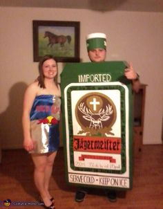 Danielle: danielle is in the red bull costume and dustin is in the jager costume. together they are jager bombs.