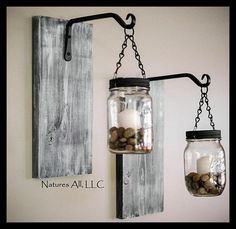 Mason Jar Lantern Decor/Rustic Mason Jar Decor/Country Mason Jar Decor/Mason Jar Decor/Weathered/FREE SHIPPING