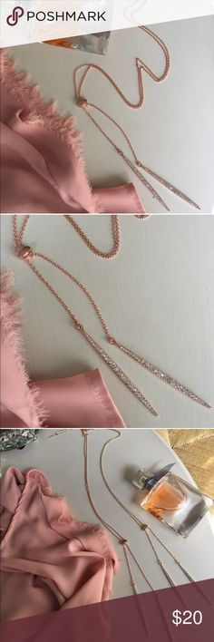 """✨New!✨ Rose Gold Sparkling Lariat Necklace ✨New!✨ Rose Gold Sparkling Lariat Necklace✨Rose gold plated with pretty faux diamonds✨Measures about 40"""" long total✨ Jewelry Necklaces"""