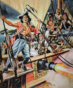 Pirates boarding a ship