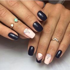Accurate nails, Arrow nails, Festive blue nails, Ideas of winter nails, Nails ideas 2017, Nails wih pearls, New Year nails 2017, Pale yellow nails