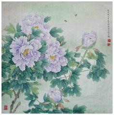 "Saatchi Art Artist Qin Shu; Painting, ""Purple Peony Original Chinese Gongbi Painting by Qin Shu"" #art"