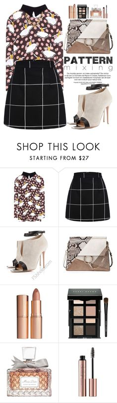 """Pattern Mixing"" by oshint ❤ liked on Polyvore featuring Marni, WithChic, Chloé, Charlotte Tilbury, Bobbi Brown Cosmetics, Christian Dior, Annelise Michelson, shoes and fsjshoes"