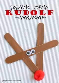 Popsicle stick Rudolf ornament