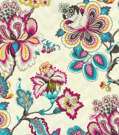 Bespoke Blossoms Peacock is a pale cream fabric with a bold blue, purple, and yellow multicolored large floral print from HGTV Home for Waverly and PK Lifestyles. Trendy Home Decor, Elegant Home Decor, Elegant Homes, Home Decor Styles, Motif Paisley, Textiles, Drapery Fabric, Chair Fabric, Home Decor Fabric